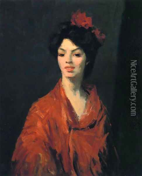 Spanish Woman In A Red Shawl Oil Painting - Robert Henri
