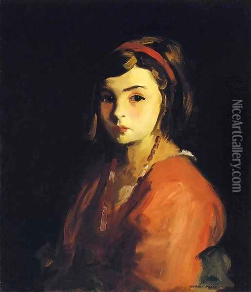 Little Girl In Red Aka Agnes In Red Oil Painting - Robert Henri