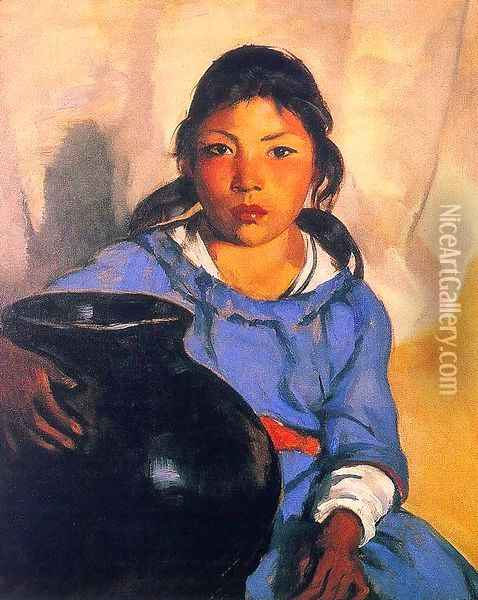 Gregorita with the Santa Clara Bowl 1917 Oil Painting - Robert Henri