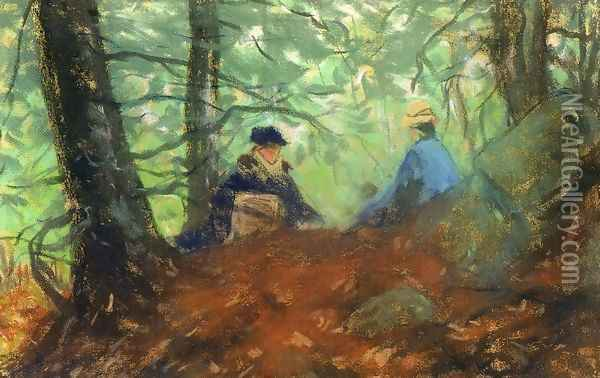 Two Girls In The Woods Oil Painting - Robert Henri