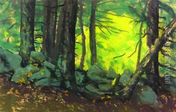 The Stone Wall With Woods Oil Painting - Robert Henri