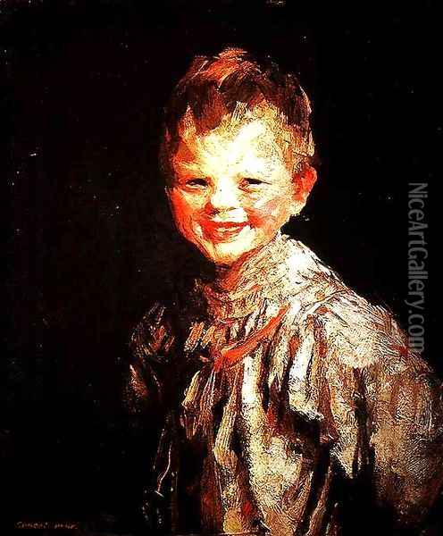 Laughing Child, Henri, 1907 Oil Painting - Robert Henri