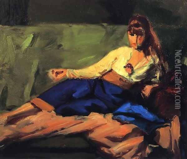 The Lounge (Figure on a Couch) Oil Painting - Robert Henri