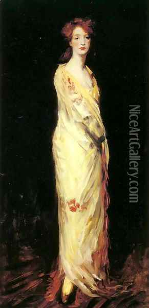 Marjorie in a Yellow Shawl Oil Painting - Robert Henri