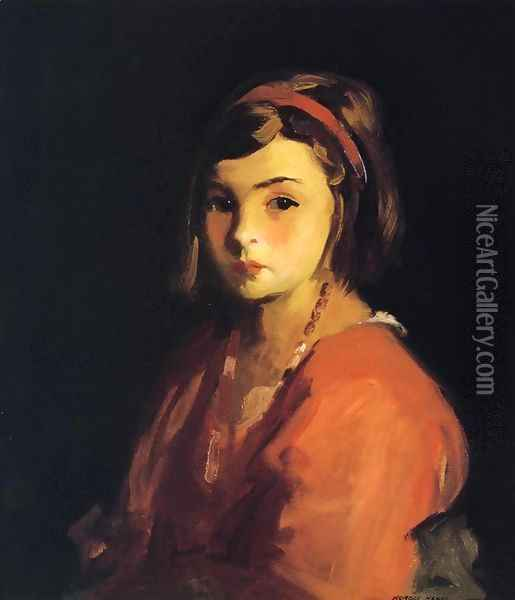 Little Girl in Red (Agnes in Red) Oil Painting - Robert Henri