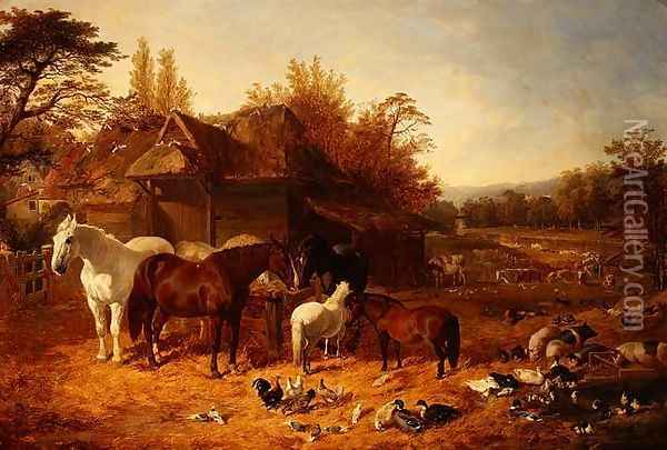 The Farmyard with Horses, Ponies, Berkshire Saddle Backs, Alderney Shorthorn Cattle and Poultry Oil Painting - John Frederick Herring Snr