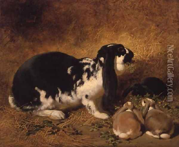 A Doe Rabbit and her three young, 1851 Oil Painting - John Frederick Herring Snr