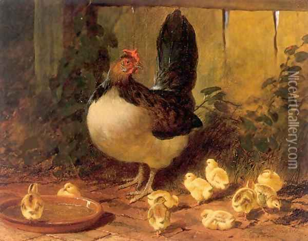 The Proud Mother Hen and Chicks 1852 Oil Painting - John Frederick Herring Snr