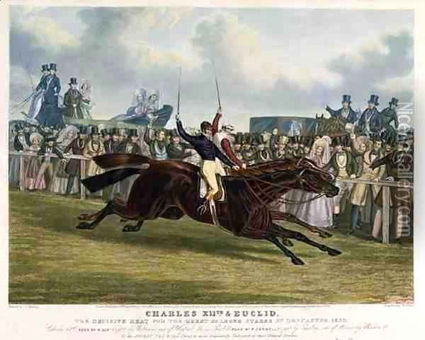 'Charles XII' and 'Euclid', The Decisive Heat for the Great St. Leger Stakes at Doncaster, 1839 Oil Painting - John Frederick Herring Snr