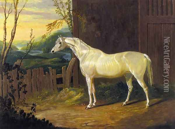 A Gray Arab Mare outside a Stable in an Extensive River Landscape Oil Painting - John Frederick Herring Snr