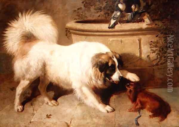 A Friendly Gesture, 1847 Oil Painting - John Frederick Herring Snr