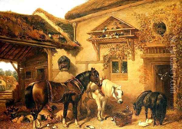 Cottage Door and Farmstead, 1843 Oil Painting - John Frederick Herring Snr