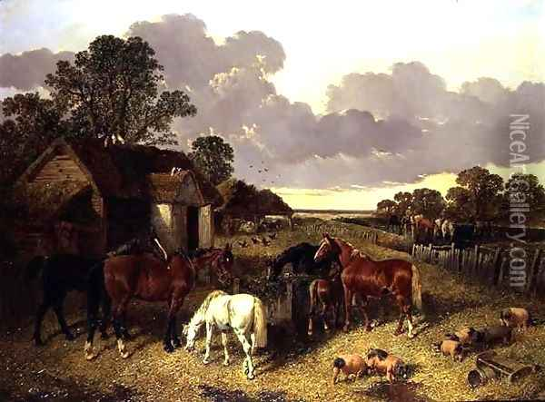 Horses, Pigs, Poultry, Duck and Cattle in a Farmyard Oil Painting - John Frederick Herring Snr