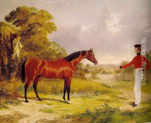A Soldier with an Officer's Charger 1839 Oil Painting - John Frederick Herring Snr