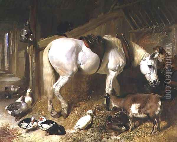The Midday Meal, 1850 Oil Painting - John Frederick Herring Snr