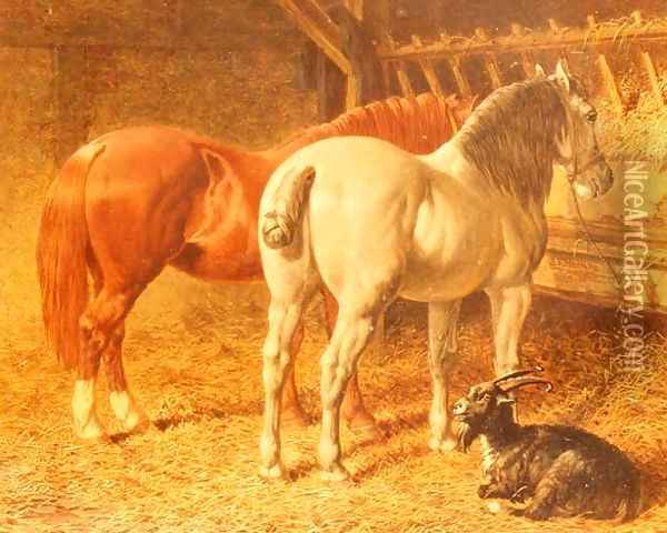 Horses and a goat in a stable Oil Painting - John Frederick Herring Snr