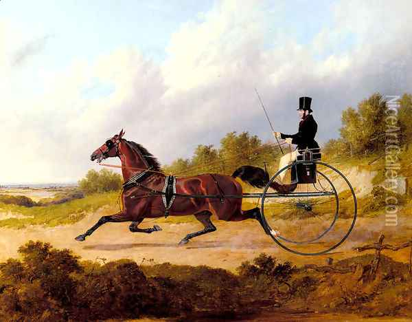 The Famous Trotter Confidence Drawing A Gig Oil Painting - John Frederick Herring Snr