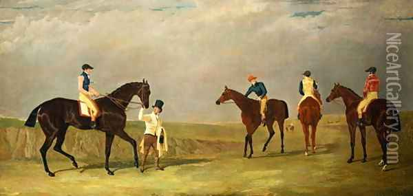 Preparing to start for the Doncaster Gold Cup, 1825, with Mr. Whitaker's 'Lottery', Mr. Craven's 'Longwaist', Mr.Lambton's 'Cedric' and Mr. Farquharson's 'Figaro' Oil Painting - John Frederick Herring Snr