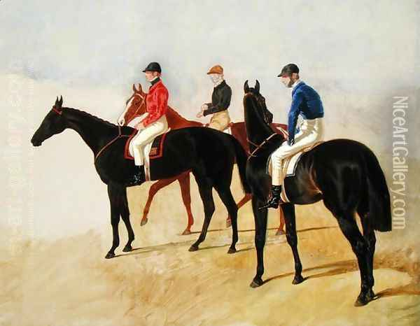 Study of Three Steeplechase Cracks: Allen McDonough on Brunette, Tom Oliver on Discount and Jem Mason on Lottery, or Three Racehorses with Jockeys Up Oil Painting - John Frederick Herring Snr