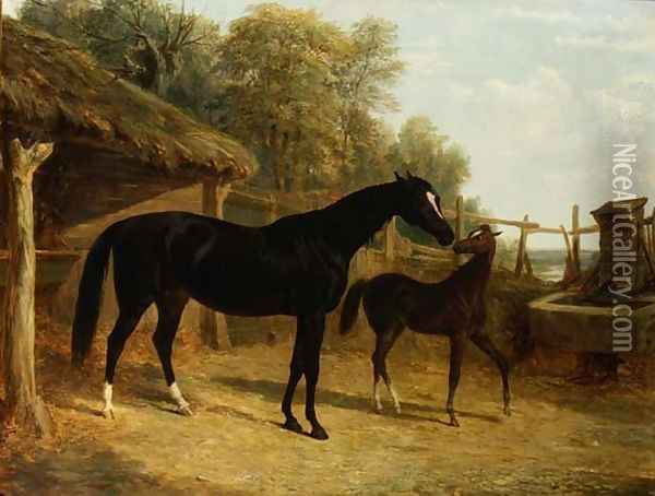 Levity, the property of J.C.Cockerill Esq., with her foal Queen Elizabeth, the property of Lord Dorchester, 1843 Oil Painting - John Frederick Herring Snr