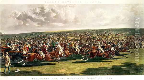 The Start of the Memorable Derby of 1844, engraved by Charles Hunt (1803-77) Oil Painting - John Frederick Herring Snr
