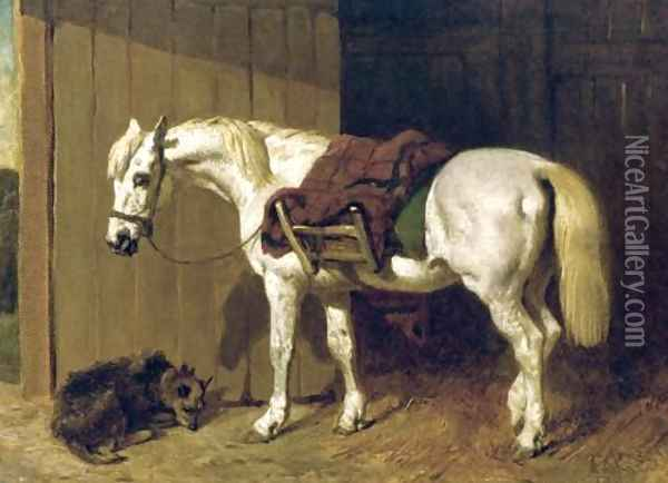 A Grey Pony with a Dog by Stable Door Oil Painting - John Frederick Herring Snr