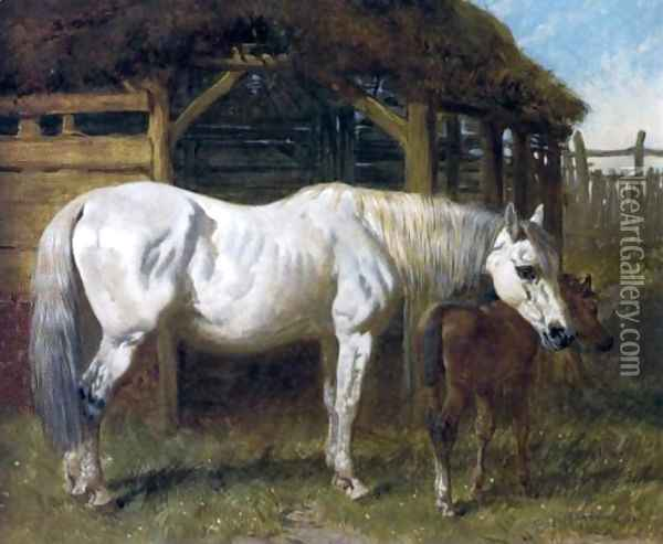 A Grey Mare and Chestnut Foal by a Stable 1853 Oil Painting - John Frederick Herring Snr