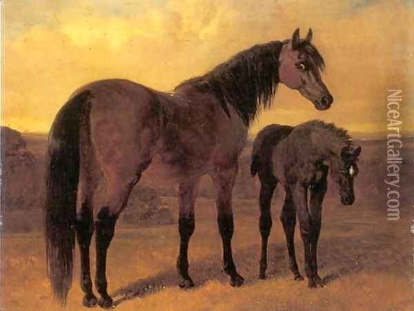 A Mare and Her Foal in a Landscape Oil Painting - John Frederick Herring Snr