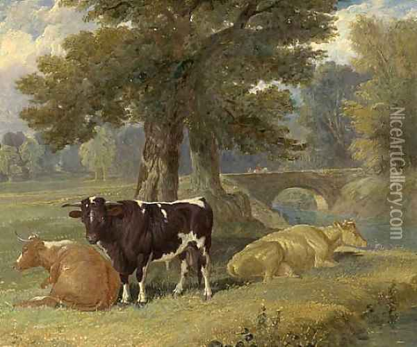 Pastoral Scene with Cows Oil Painting - John Frederick Herring Snr