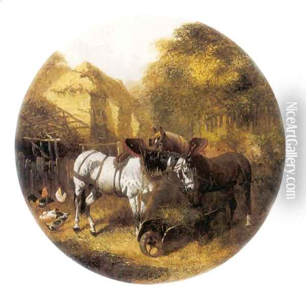 The Team at Rest in a Farmyard Oil Painting - John Frederick Herring Snr