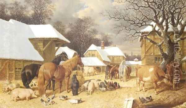 Winter in the Farmyard 1857 Oil Painting - John Frederick Herring Snr