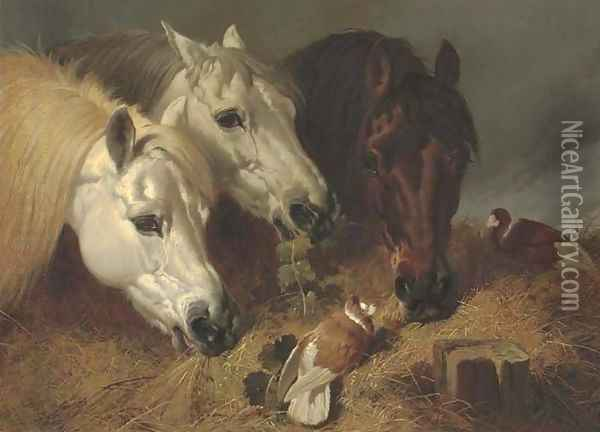 Horses feeding with two ornamental pigeons at a manger Oil Painting - John Frederick Herring Snr