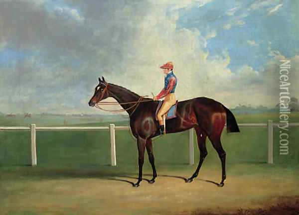 Bessy Bedlam, a bay racehorse with T. Nicholson up, on a racecourse Oil Painting - John Frederick Herring Snr