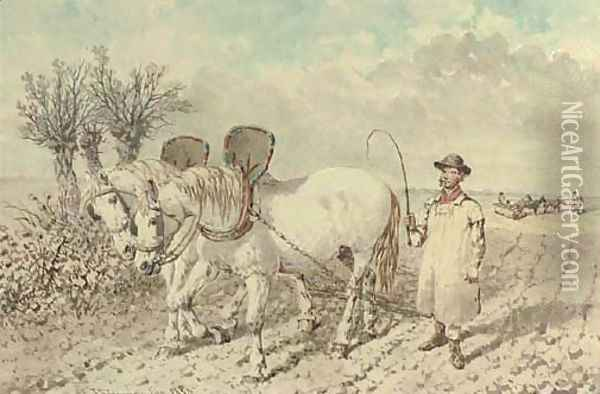 A labourer with a ploughing team Oil Painting - John Frederick Herring Snr