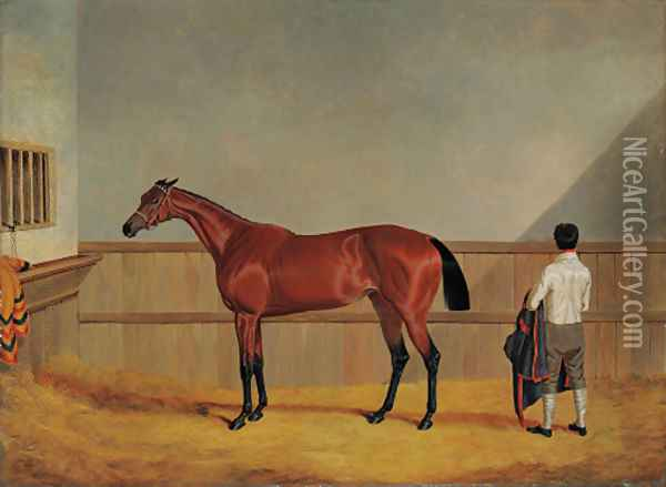 Matilda, a bay racehorse with her groom in a loosebox Oil Painting - John Frederick Herring Snr