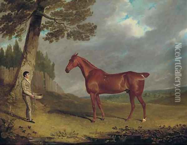 A chestnut hunter and a groom in a landscape Oil Painting - John Frederick Herring Snr
