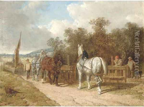 Barge horses by a lock Oil Painting - John Frederick Herring Snr
