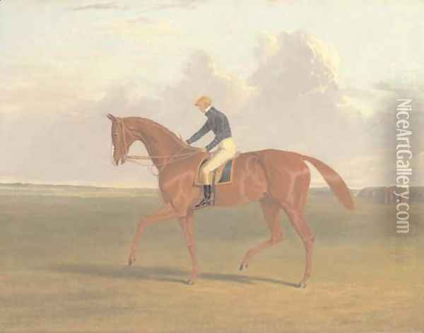 Colonel Peel's chestnut filly Vulture, with jockey up, on Newmarket Heath Oil Painting - John Frederick Herring Snr