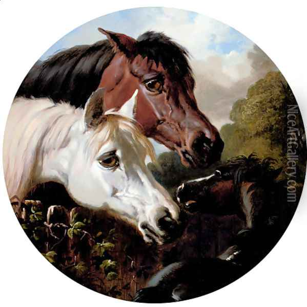 Two Horses with a Foal, by a Fence Oil Painting - John Frederick Herring Snr