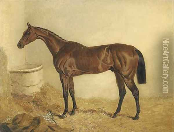 Little Wonder, winner of the Derby, 1840, in a stable Oil Painting - John Frederick Herring Snr