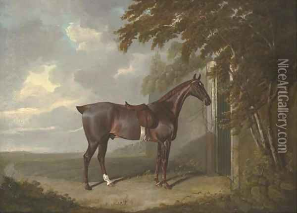 Mr. H.M. Greaves's liver chestnut hunter, tethered to a gate at Page Hall, Yorkshire Oil Painting - John Frederick Herring Snr