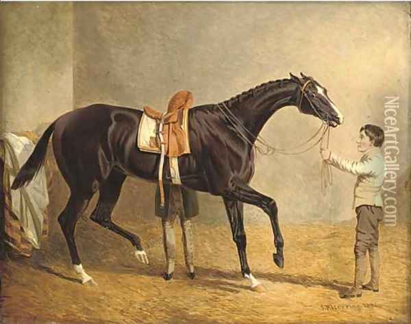 Queen of Trumps in a stable, with two grooms Oil Painting - John Frederick Herring Snr