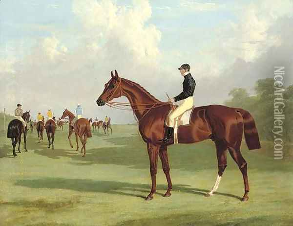 Mundig with William Scott up at the start for the 1835 Derby, jockeys and racehorses on the course beyond Oil Painting - John Frederick Herring Snr