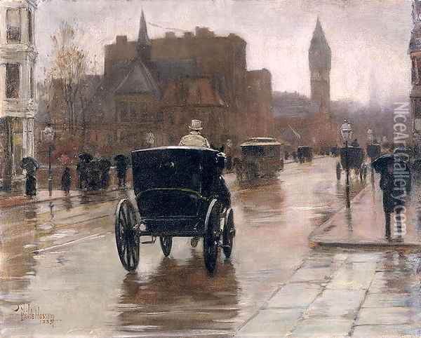 Columbus Avenue, Rainy Day, 1885 Oil Painting - Childe Hassam