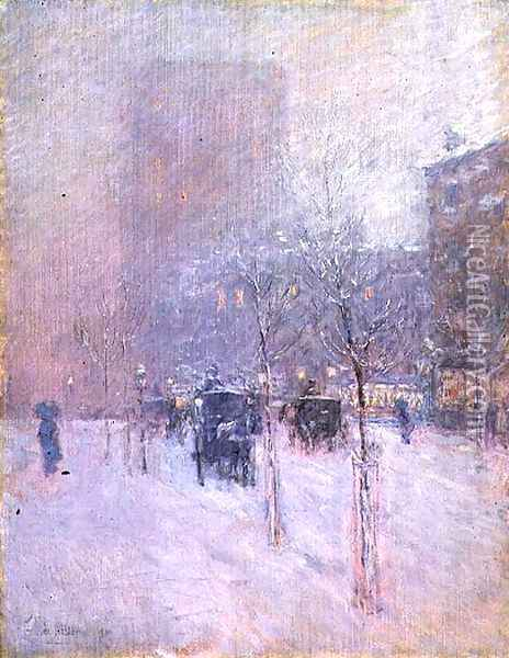 Late Afternoon, New York, Winter, 1900 Oil Painting - Childe Hassam