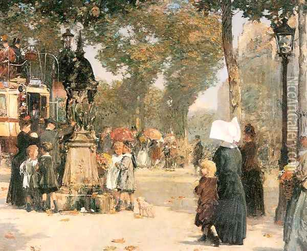 Paris Street Scene 1887 Oil Painting - Childe Hassam