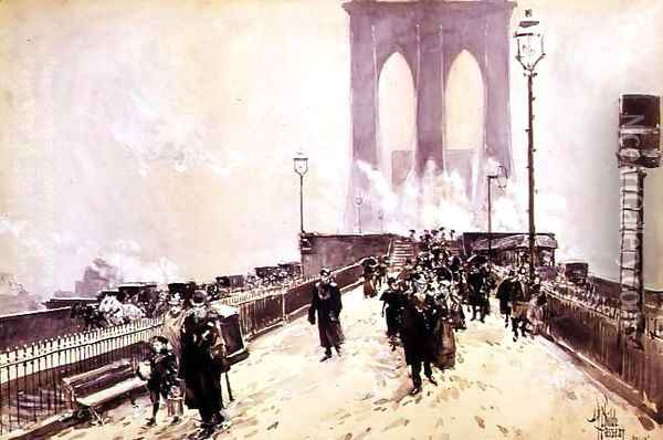 A Winter Day on Brooklyn Bridge Oil Painting - Childe Hassam