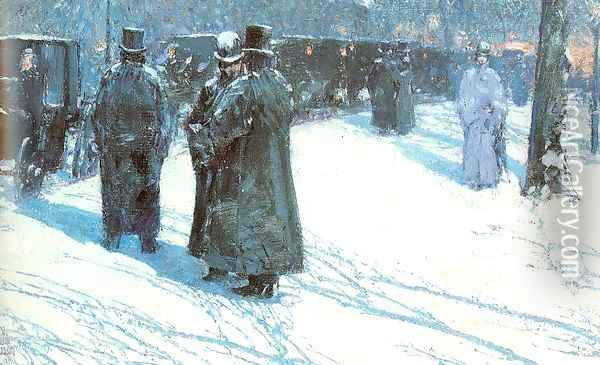 Cab Stand at Night, Madison Square, New York 1891 Oil Painting - Childe Hassam