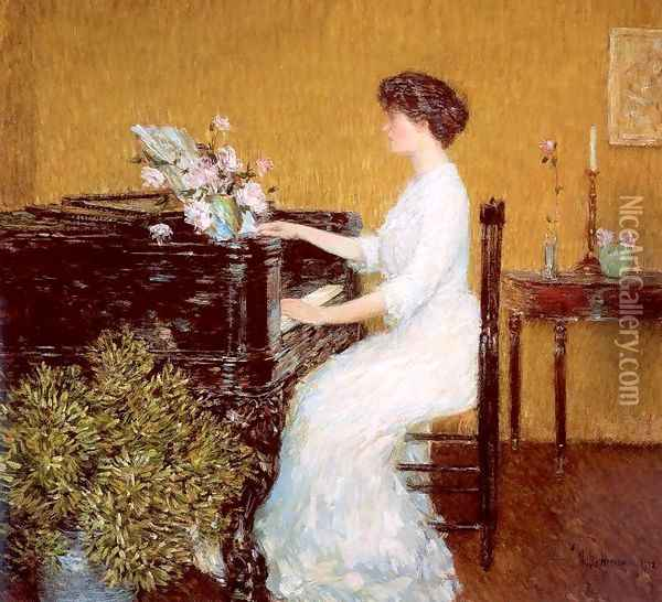 At the Piano 1908 Oil Painting - Childe Hassam