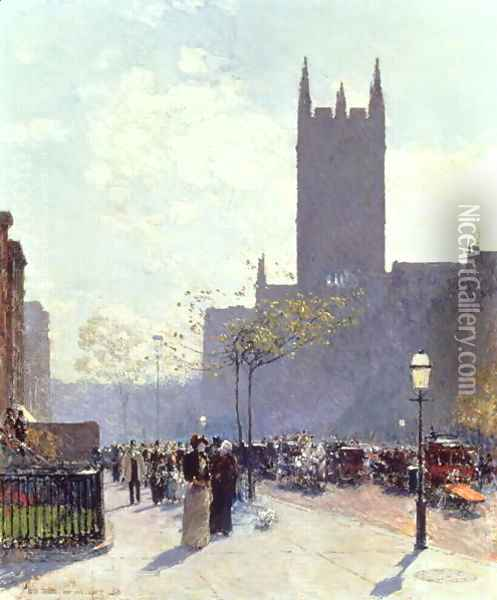 Lower Fifth Avenue, 1890 Oil Painting - Childe Hassam